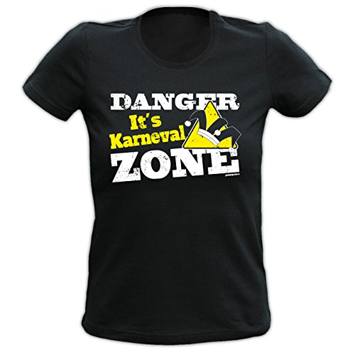 Girlie-Shirt ::: Danger It s Karneval ZONE ::: Schwarz Schwarz