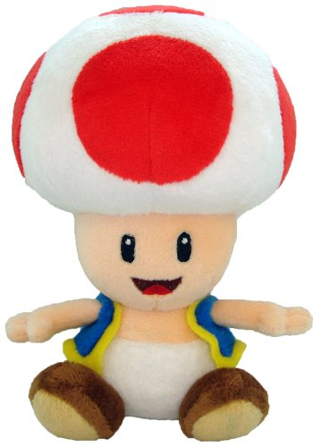 Red Toad - 6.75 inch Plush - New Super Mario Bros Wii...