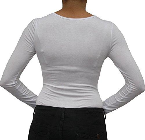 9789 Mesdames blouse corps, chemise corps, manches longues, avec le U-col, vert, beige, blanc, noir, rouge, marron, gris, bleu. Blanc