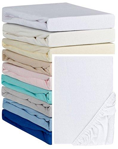 Aminata Kids Spannbettlaken á 70x140 cm aus Jersey mit Rundumgummi in Weiß Bettlaken für Kinderbett Babybett weißes Spannbetttuch Kinder Mädchen Junge Kinderbettgröße Baumwolle