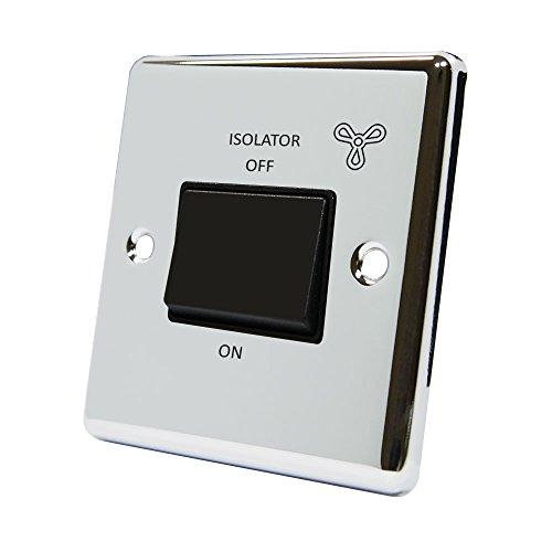 AET cpcfanbl 10A 3Pole klassischen Chrom poliert Fan Isolator mit Schwarz Einsatz aus Kunststoff Wippschalter