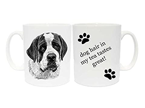 Saint Bernard Mug Gift with choice of 6 captions (dog hair in my tea taste great!)