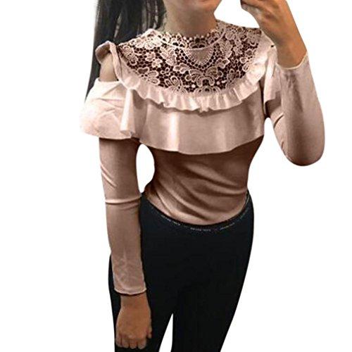 Longra Damen Sexy Bluse Elegante Blusen Spitzenbluse Weißes Hemd Damenmode Kleider Damen Schulterfreie Oberteile Festliche Tunika Blusenshirt Langarmshirt Tops (Pink, M)