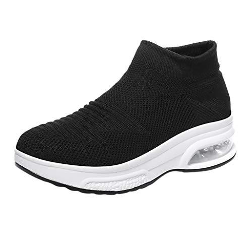 Damen High Top Sportschuhe Casual Plateauschuhe Slip On Atmungsaktive Laufschuhe Plattformen Fitnessschuhe Sport Bequeme Turnschuhe Socken Sneaker, Schwarz-3, 37 EU