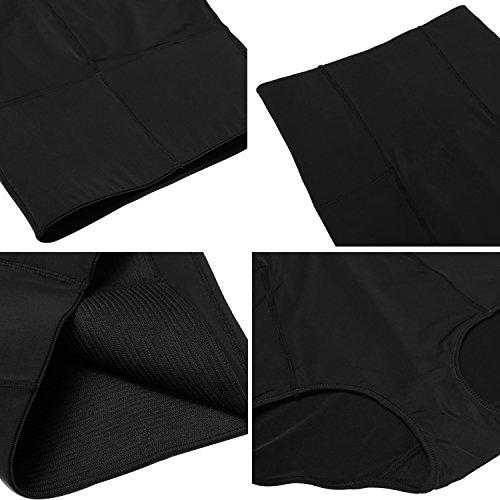 Ekouaer Damen Korsett Miederslips Miederhose Shapewear Figurformender Taillenslip Miederpants Hipster Slips Taillenformer mit Bauch-weg-Effekt Schwarz