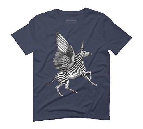 ZEBRA PEGACORN Men's Graphic T-Shirt - Design By Humans Navy