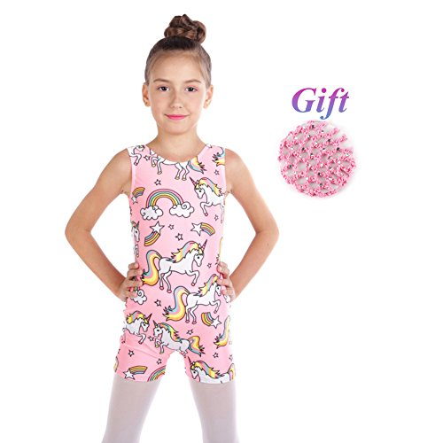 Hougood Turnanzug Mädchen Gymnastik Leotards Ballett Kostüme Tanzkleidung Fitness Overalls Bodies Tanz Body Ärmellose Flachwinkel Cartoon Printed Dancewear Athletisch Trikot Alter 2-10 - 80 Turnanzug Kostüm