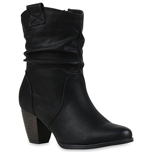 Damen Cowboy Boots Leder-Optik Stiefeletten Blockabsatz Stiefel Schuhe 43230 Schwarz Bernice 39 | Flandell® (Schwarze Leder-cowboy-stiefel)