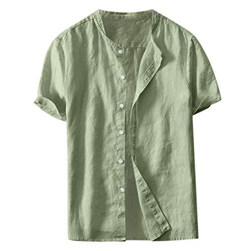 TWISFER Herren Leinenhemd Henley Freizeithemd Kurzarm Regular Fit Kragenloses Shirt Leinenhemd Henley Shirt Button-down Sommerhemd Herren Freizeithemden aus Leinen und Baumwolle (Raglan Henley Top)