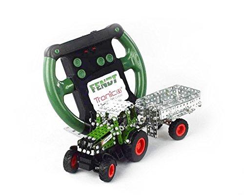 Tronico 09521 - Metallbaukasten Traktor Fendt 800 Vario mit Kippanhänger und Fernsteuerung, Maßstab 1:64, Micro Serie, grün, 451 Teile