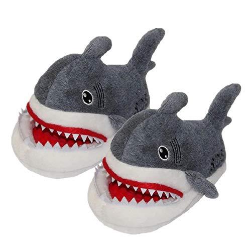 (Koosy Niedlichen Cartoon Tier Shark Baumwolle Hausschuhe, Indoor Home Baumwolle Hausschuhe für Herren Damen Erwachsene Winter Plüsch weiche warme Schuhe)