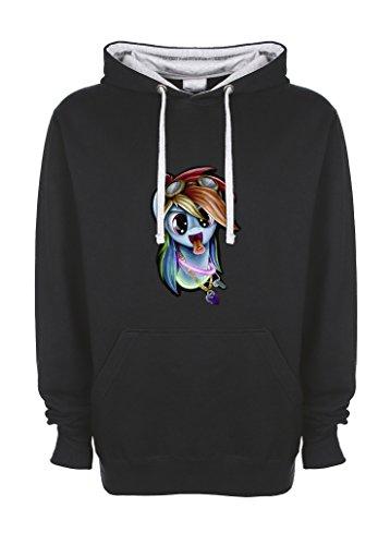 Rainbow Dash Pony Rave Culture schwarz / grau Höchster Qualitätt Kontrast Unisex Kapuzenshirt Medium (Rainbow Dash Hoodie)