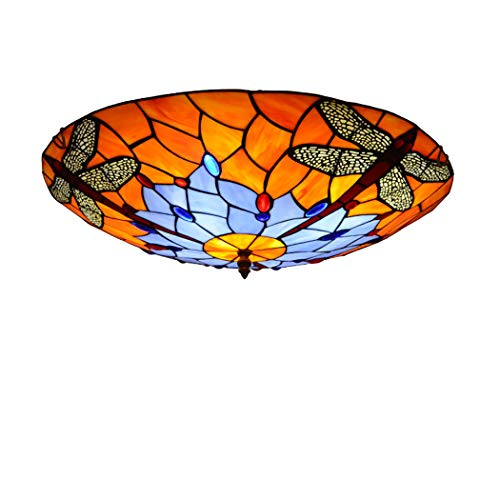 Litaotao Tiffany-Stil Deckenleuchte Schlafzimmer Studie Dekoration Lampe Glasmalerei Lampenschirm Mit Kristallperlen Schmiedeeisen Saugnapf, 110-220V, E27, Ø40cm