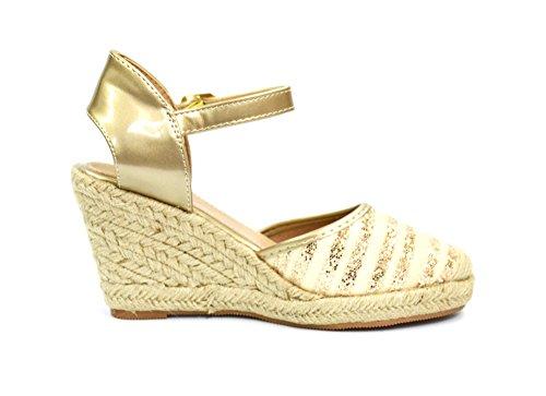 SHT22 * Sandales Espadrilles Compensées avec Rayures Paillettes et Bride Verni - Mode Femme Doré