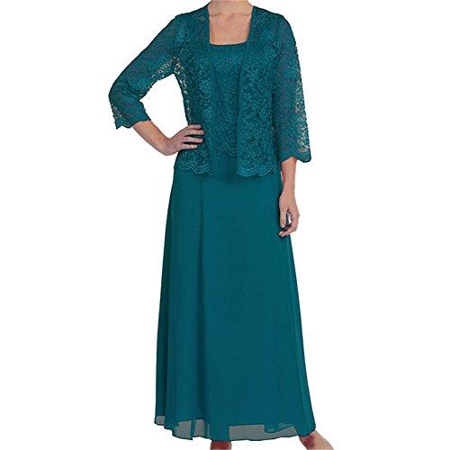 ren Mutter der Braut Kleid lange formale Kleider mit Jacke Bolero Pfau (Plus Size Kleid Pfau)