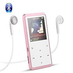 Idea Regalo - Lettore Mp3 8 GB con Bluetooth, AGPTEK A07T Mp3 Player di Metal con Pulsanti di Tocco, Radio FM, Supporta la Scheda di Memoria fino a 128GB, Colore Rosa