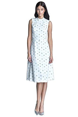 Nife Robe élégante avec motif subtil d'akènes de pissenlit Ecru/Beige