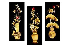 SAF Set of 3 Flower Floral Pot UV Coated 6MM MDF Home Decorative Gift Item Painting 15 inch X 18 inch SANFJ25, Multicolour