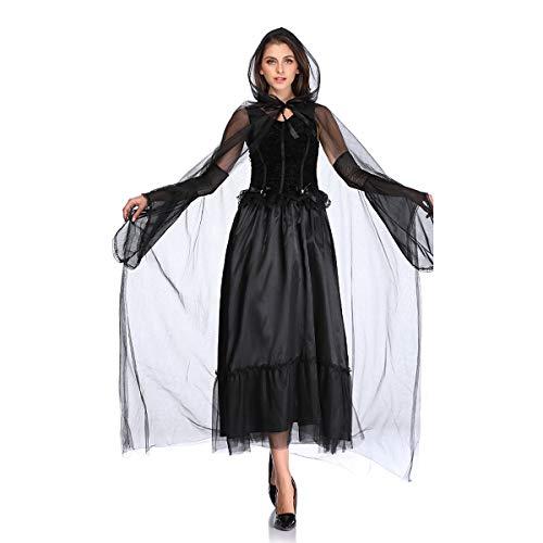 MLYWD Halloween Ghost Bride Kostüm für Erwachsene, Party Kostüm Vampire Cosplay Devil Female Abendkleid Karneval Zombie Kleid Set (Halloween Kostüm Bride Ghost)