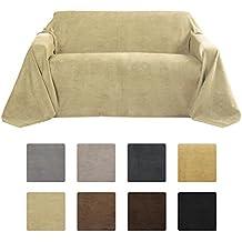 Beautissu® Manta Romantica 210x280 cm en óptica de piel de ante como cobertor de sofá manta de día Plaid en natural