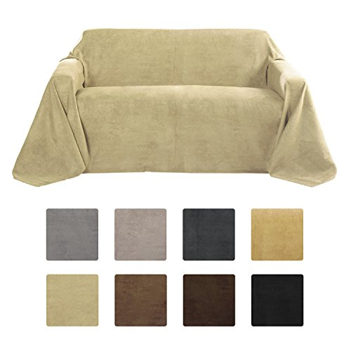Beautissu Romantica Decke 210x280cm in Wildleder-Optik als Sofa-Überwurf Tagesdecke Plaid in Natur (Beige Stoff Sofa)