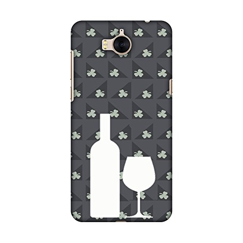 AMZER Slim Hard Shell Printed Designer Case/Back Cover for Huawei Y5 2017 - Wine and Pattern with shemrock Burnt Grey