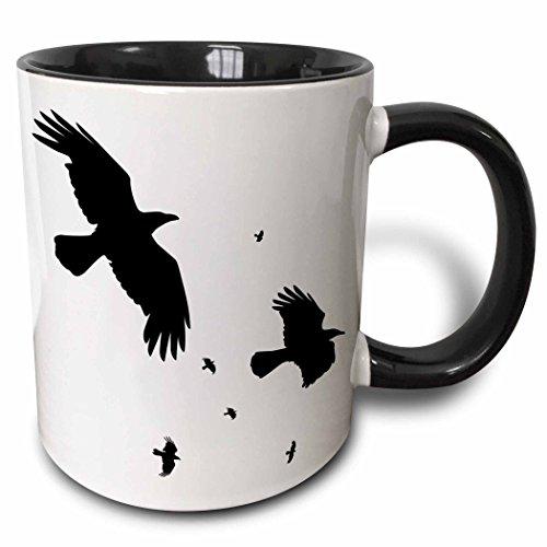 3drose Tasse 78697_ 4A Murder Of Crows Tier, Vogel, Vögel, Krähe, Halloween, Mythos, Mythologische, Mythologie, Silhouette zweifarbig schwarz Tasse, 11Oz, schwarz/weiß