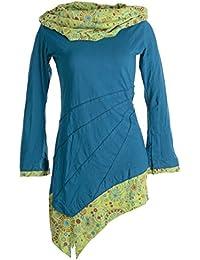 Vishes - Alternative Bekleidung – Asymmetrisches Kleid aus Baumwolle mit Schalkragen