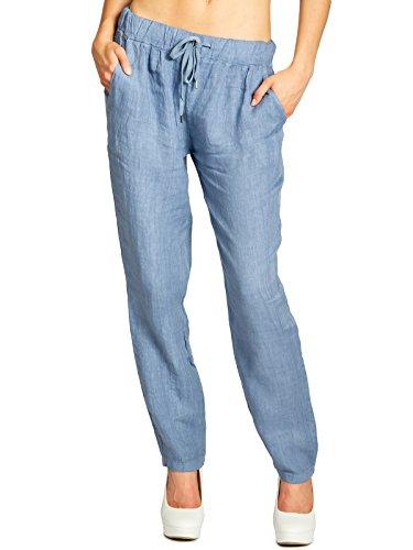 CASPAR KHS045 leichte lässige Damen Sommer Hose Leinenhose, Farbe:Jeans blau;Größe:M - DE38 UK10 IT42 ES40 US8