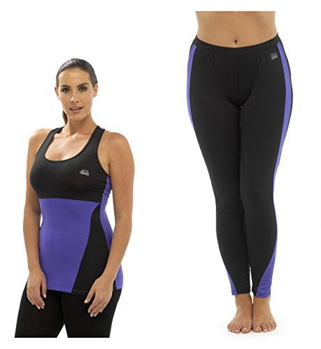 Mesdames Sport Gym Yoga Running sans manches et legging Set Blanc - Violet