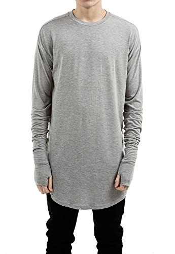 LILBETTER Mens Thumb Hole Cuffs Long Sleeve T-shirt Basic Tee