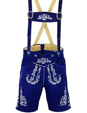 Herren Trachten Lederhose Bayerische Trachtenlederhose Blau Kurz Inkl. Hosen Träger Größe 46-60 Neu