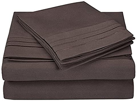 Superior 3000 Series Super Soft and Wrinkle Resistant Microfibre 4-Piece Bed Sheet Set with 3-Line Embroidery in Gift Box, Double,