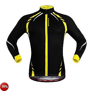 Sunday Maglie maniche lunghe casual Uomo rivestimento termico del panno ciclismo Bicicletta Cappotto di vento del vento Maglie Maglie