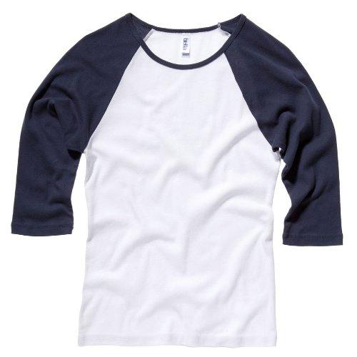 Bella bébé de toile Rib manches 3/4 T-shirt Contraste Raglan Multicolore - White/navy