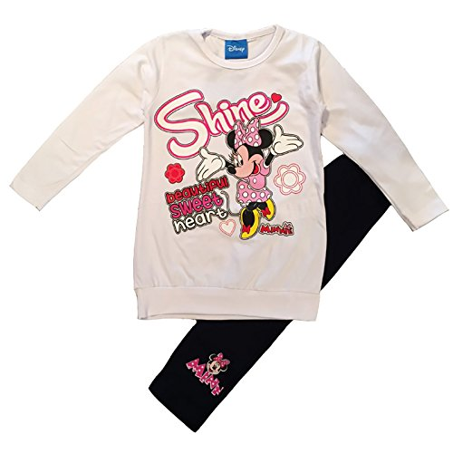 Completo minnie maglia lunga + leggings mis. 3 4 5 6 7 anni primavera 2018 (7 anni, bianco)