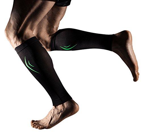 +md fascia a compressione per polpacci per tendinite, dolore muscolare polpacci - uomini, donne, e runners - protegge muscoli di polpacci per corsa, ciclismo, maternità, viaggi, infermieri blackxl