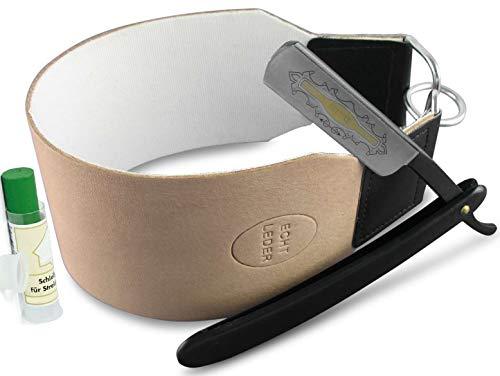 Geschenk Set Rasiermesser mit schwarzer Rasierklinge und Breitem Profi Leder Leinen Streichriemen mit Solingen Paste