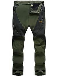 LaoZanA Hombre Mujer Pantalones De Trekking Softshell Impermeables Escalada Pantalón Forrado Invierno/Verde del ejército Hombre XL