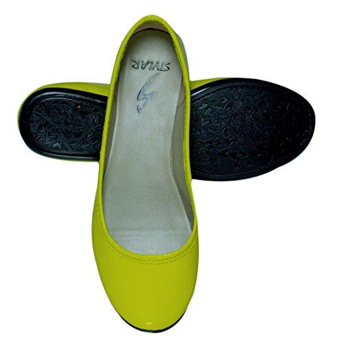 Stylar glisser sur la taille ballerine loafer ballet plat des femmes de disponibles Jaune