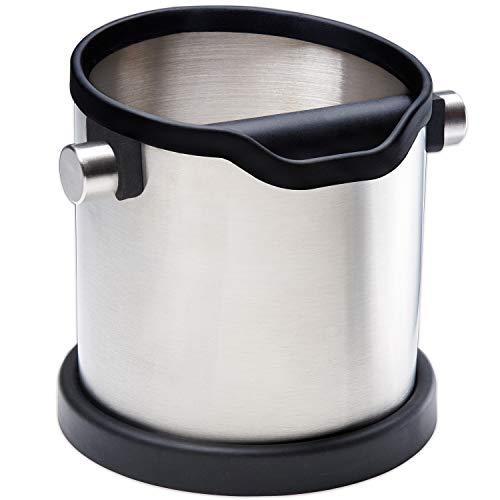 HOME DEPT Edelstahl Abklopfbehälter und Knock Box. Leichtes und sauberes entleeren des Kaffeesatz vom Siebträgers der Espresso Kaffeemaschine. Abschlagbehälter für den Trester.