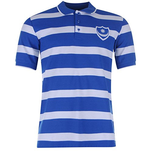 Portsmouth FC Herren Streifen Fussball Polo Poloshirt T Shirt Kurzarm Tee Top Blue/White Small (Ärmel Streifen Rugby Lange)