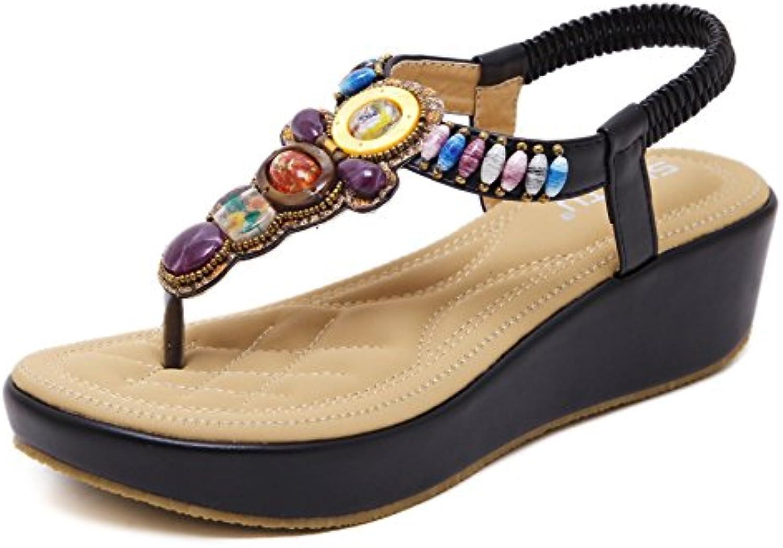 GUOCU Damen Wedge Sandalen Böhmischer Absätz Schuhe Sommer Sandalen Antirutsch Komfortabel Frauen Flip Flops Schuhe