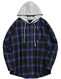 9d82aaddfa7693 ZAFUL Men s Casual Patchwork Plaid Hoodie Long Sleeve Button Hooded Shirt  Pullover