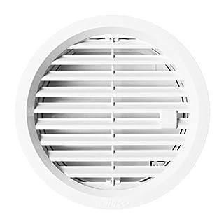 MKK - 20169-001 - Lüftungsgitter 110 mm Gitter verschließbar Abluft Abschlussgitter Lüftung rund Rückstauklappe weiß