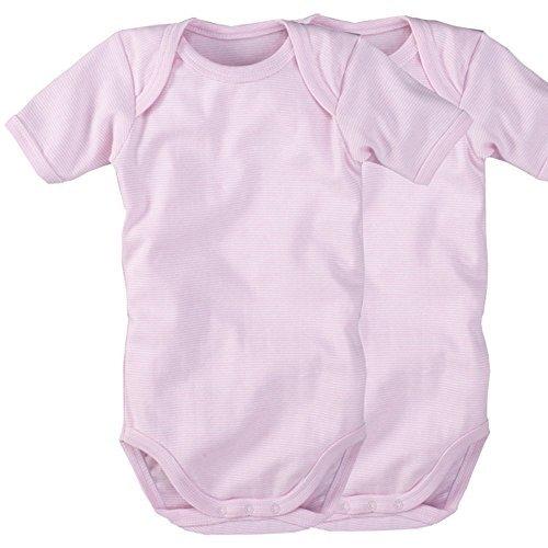 wellyou | 2er Set Kinder Baby-Body Kurzarm-Body | rosa weiß gestreift | geringelt | Feinripp 100% Baumwolle | Größe 92 - 98