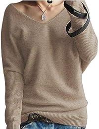 PHELEAD Damen 100% Merinowolle Winterpullover Damen V-Ausschnitt Loose Strickpulli Oversized Pullover Damen Sexy Warm Sweater