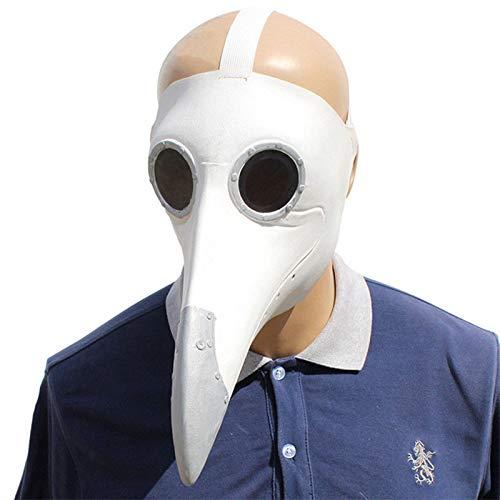 Vogel Maske Lange Nase Schnabel Cosplay Steampunk Halloween Kostüm Requisiten (weiß) ()