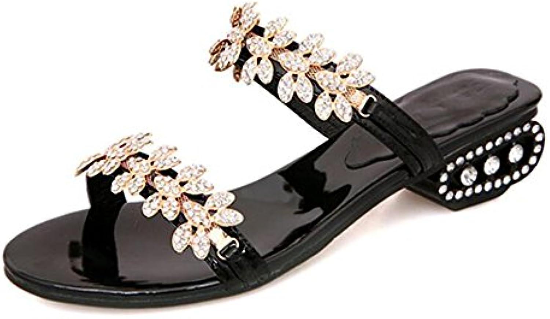 Feifei Zapatos de Mujer Verano Material de Alta Calidad Moda Rhinestone Zapatillas Simples Oro Negro Opcional...