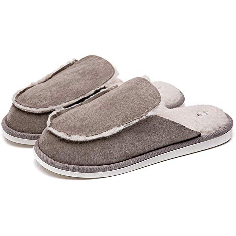 SLIPPERSXSJ Cordon en Coton pour pour Coton Hommes Pantoufles d'hiver en Fourrure Chaude D'Intérieur De Pantoufle, 44-45... - B07KG82XW2 - e115c3